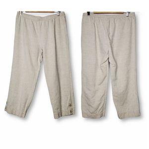 Hot Cotton Pull On Linen Cutoff Pants Tan Petite M